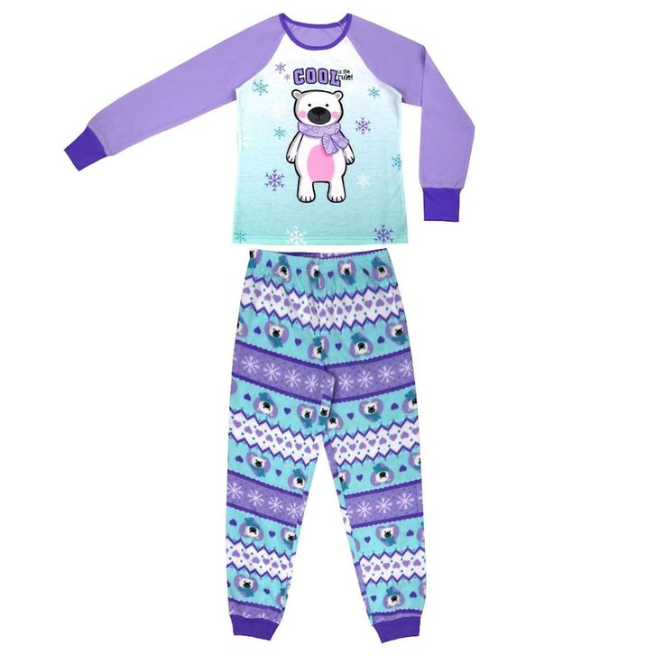 Girls 4-16 Jellifish 2-pc. Penguin Graphic Pajama Set, Size: 10-12, Brt Purple