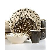Sango+Dinnerware,+Fresh+Flowers+Black+16+Piece+Set