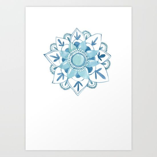 Blue Mandala // Sarah Jager Design #mandala #watercolorart #floweroflife