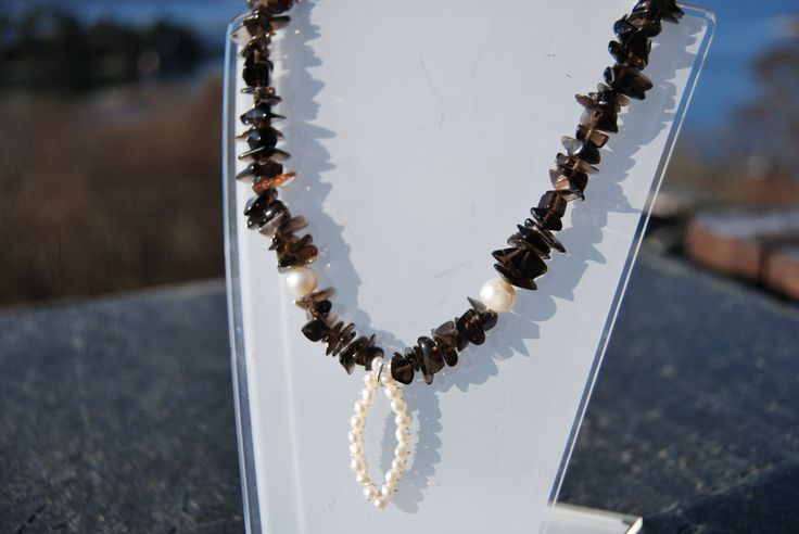Smoky quartz and fresh water pearls necklace by NorthernlightsNO on Etsy
