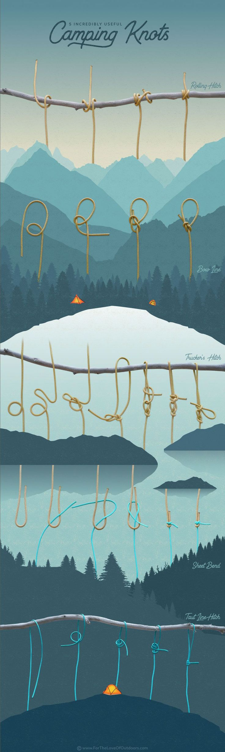 5 Incredibly useful Camping Knots we use most - an Infographic tutorial for outdoor lovers - outdoor skills, rope work, camping tips