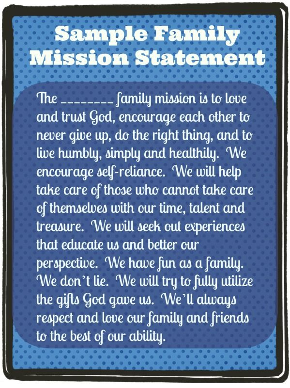 Sample Family Mission Statement: Instructions on how to do it and templates.  Great time of year to do this with the family!