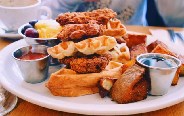 Chicken waffle at Fabergé brunch in Montreal