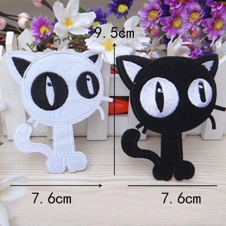 1pc/set Embroidered Sew Iron on Patch Badge Black Cat Shape Fabric Appilque DIY #UnbrandedGeneric