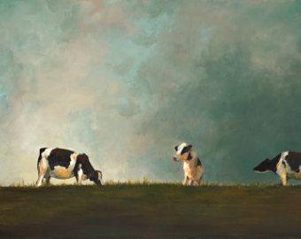 Mucca pittura Hilltop Reunion - tela o carta Giclee print di un dipinto originale