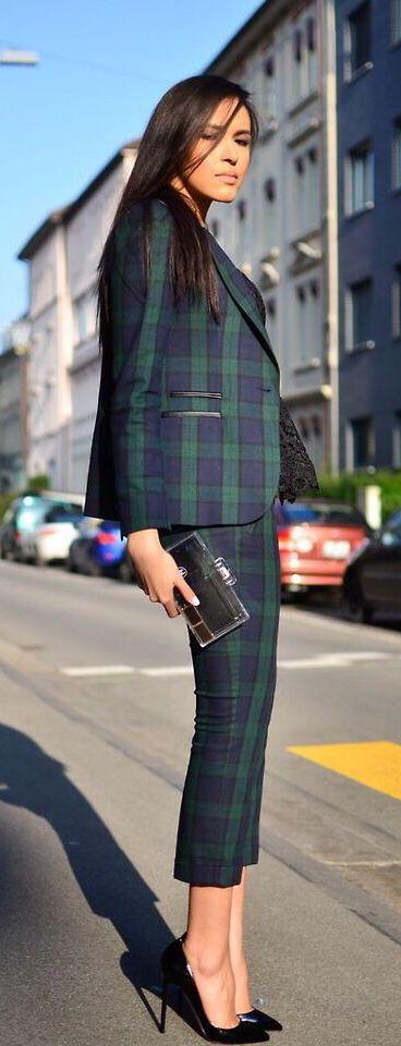 Plaid capri style suit