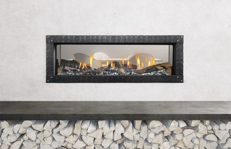 """This is the Mezzo 48"""" see-through fireplace by Heat & Glo"""
