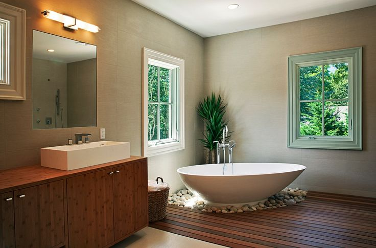 """Asian Master Bathroom with Freestanding, High ceiling, PureScape 75"""" x 38"""" Freestanding Acrylic Slipper Tub by Aquatica"""
