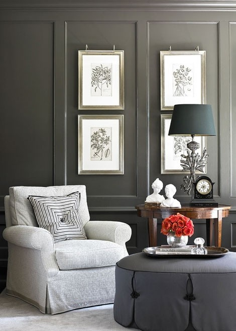 Sitting Area In Master Bedroom Or Guest Room Love The Dark Gray Wall Color And Paneling Great Details On Round Ottoman Accessory Placement Table