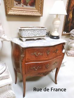 FRENCH ANTIQUE MARQUETRY MARBLE TOP-CHEST OF DRAWERS