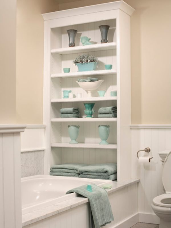 a great idea for storage in a small bathroom turquoise accessories