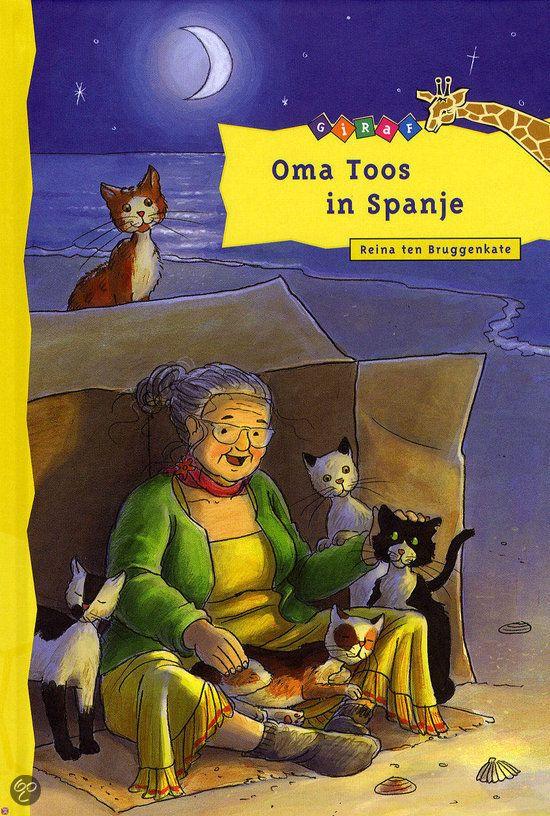 """boek: """"Oma Toos in Spanje"""" van Reina Bruggenkate (2009). *** Oma Toos danst van vreugde. Ze mag met Marc en Fleur mee naar Spanje! Ze vindt alleen één ding erg verdrietig: haar katten mogen niet mee. Maar gelukkig zijn er in Spanje katten genoeg. Heel zielige, die erge honger hebben. Oma stopt stiekem eten in haar zakken om ze te voeren. Maar al snel worden ze in het hotel gék van al die katten ...  Trefwoorden: vakantie, oma, humor, dieren, helpen Leeftijd: 7+; AVI M4"""