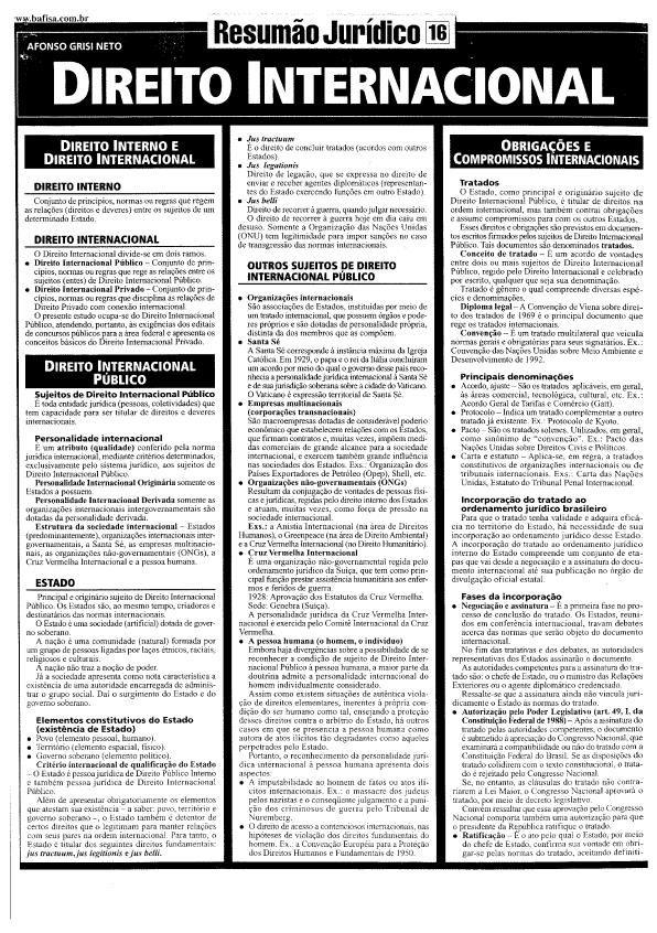 Arquivo Direito Internacional 16.pdf enviado por rodrigo ferreira no curso de Direito na UEM. Sobre: resumão jurídico