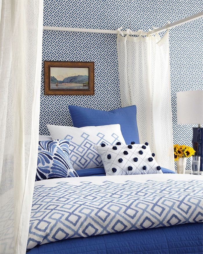 Love the Mix:  Blue and White Bedding by Dransfield and Ross