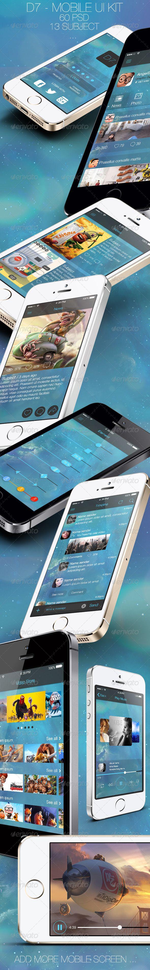 D7 - Mobile UI Kit - #User #Interfaces #Web #Elements Download here: https://graphicriver.net/item/d7-mobile-ui-kit/6153749?ref=alena994