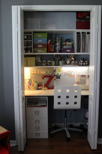 I want to do this to organize the kids school supplies and create  additional workspace. Closet DeskCloset ...