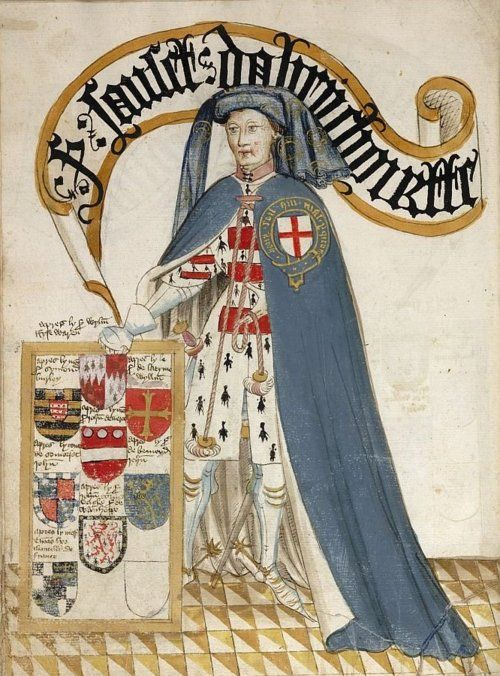 Pictorial book of arms of the Order of the Garter ('William Bruges's Garter Book') Origin England, S. E.- Date c. 1430- c. 1440 - Gothic inscriptions