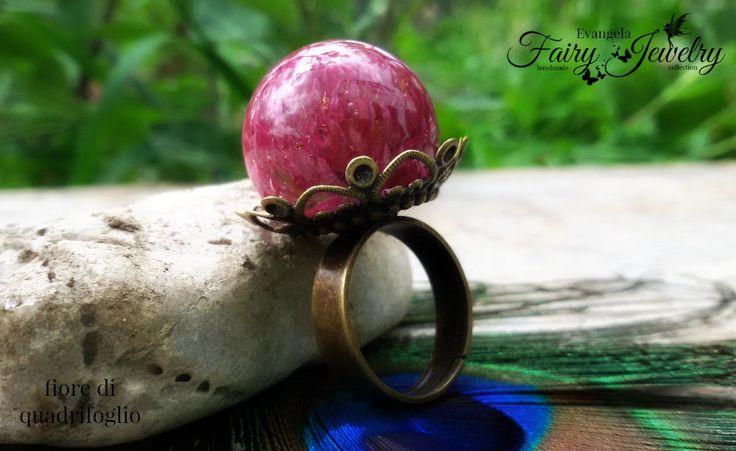 Anello fiore naturale di quadrifoglio resina sfera bronzo regolabile gioielli botanici, by Evangela Fairy Jewelry, 16,00 € su misshobby.com