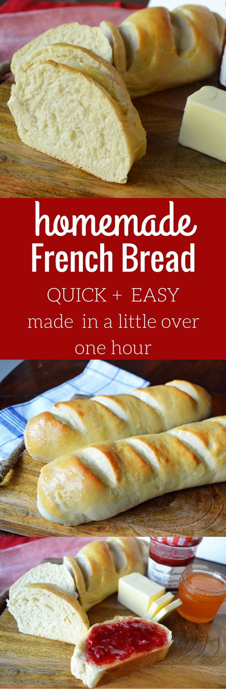 Homemade Bakery French Bread made in a little over an hour. QUICK and EASY soft bread. www.modernhoney.com
