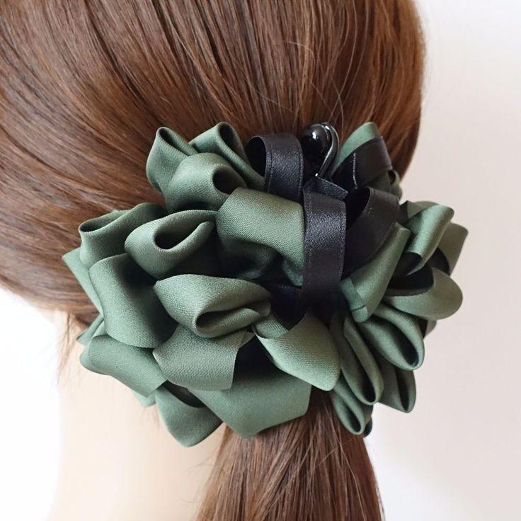 Handmade Strap Bow Satin Fabric Flower Banana Hair Clip  Accessories #VeryShine #Clips