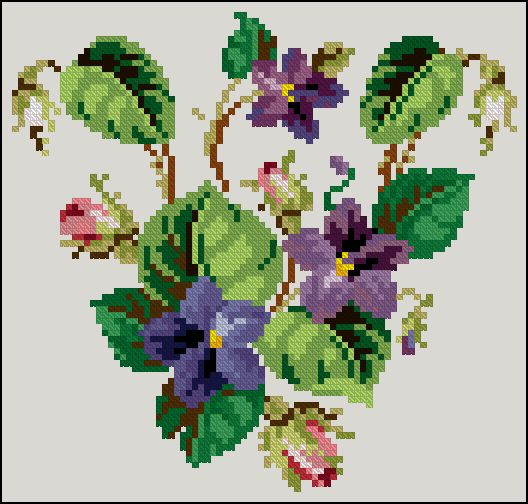 Free cross-stitch patrterns 'Violets' It's cute and easy pattern with violets, I hope you like it! Pattern Name: Violets Company: Cross-Stitch