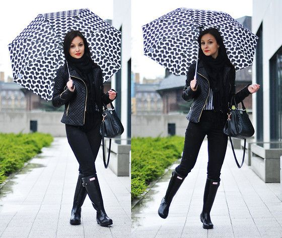 Get this look: http://lb.nu/look/6061661  More looks by Barbara Kucharska: http://lb.nu/basmilia  Items in this look:  Oriflame Umbrella, Hunter Wellingtons, Zara Pant   #heart #rainyday #black #white #zara #hunter #wellingtons