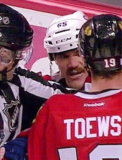 "Shaw says ""What's up bitch?"" I love that Toews just pushes his face away."