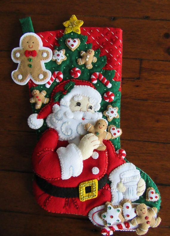 Bucilla Santas Snack terminado por MissingSockStitchery en Etsy