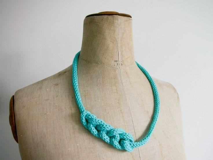Collier Tricotin - Bleu Turquoise