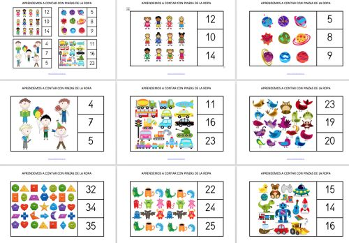 #abn #atención APRENDEMOS A CONTAR CON PINZAS DE LA ROPA tarjetas XXL muy coloridas y divertidas