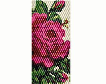 Vintage Rose 4 Peyote Bead Pattern Bracelet Cuff Bookmark