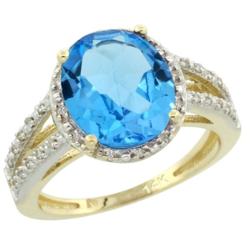 14K White GOld Diamond Color Gemstone Rings - Swiss Blue Topaz Rings Wholesale - Afford Price: Contact Us @ (213) 689-1488