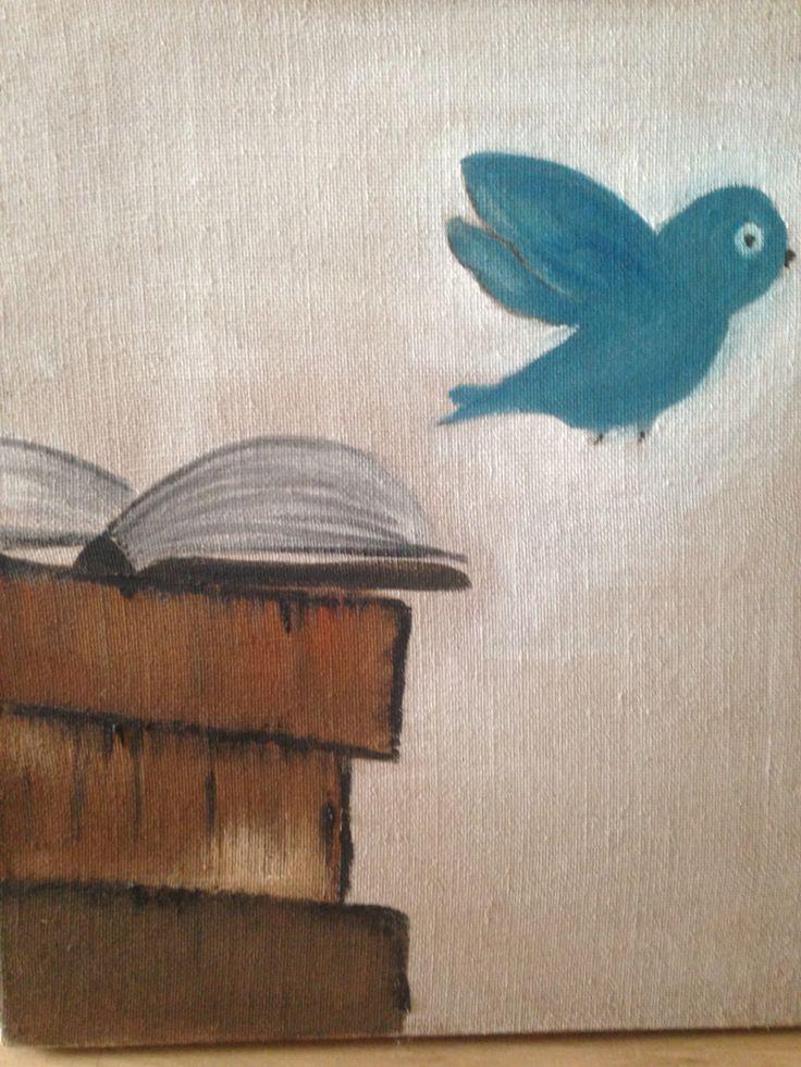 Uccellino sui libri