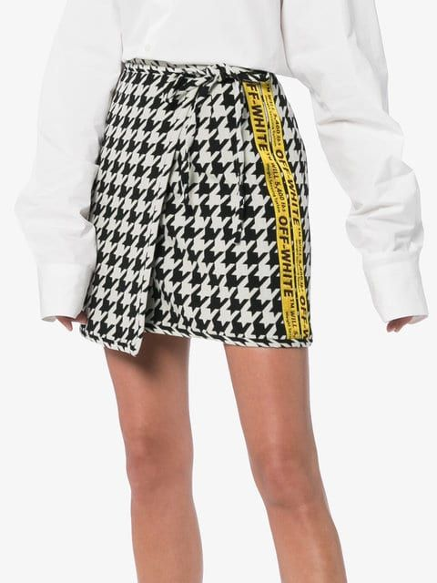ca9a3f1e893d69 Off-White High Waisted Virgin Wool Blend Houndstooth Mini Skirt - Farfetch