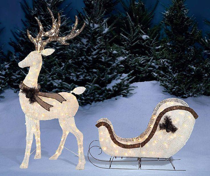 Winter Wonder Lane Light-Up Deer & Sleigh, 2-Piece Set ...