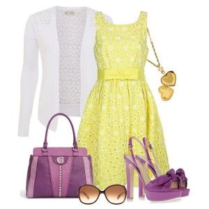 С чем носить фиолетовые босоножки: желтое кружевное платье, белая кофточка, фиолетовая сумка, солнцезащитные очки