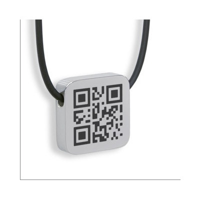 """QR code necklace pendant...I wonder what it brings up when you scan it?-Probably an Internet page that says, """"You're too close!"""""""