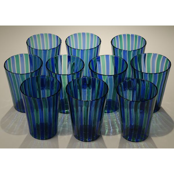 Set of ten Venini Murano a canne drinking glasses;