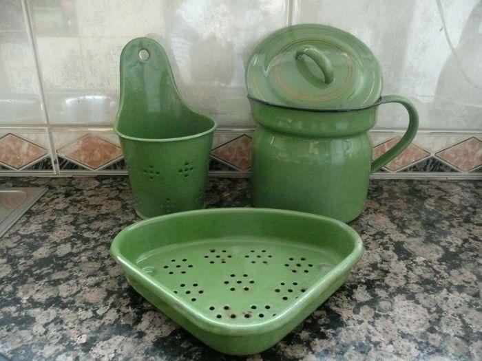 Groen Emaille keukengerei 4x - jaren 50