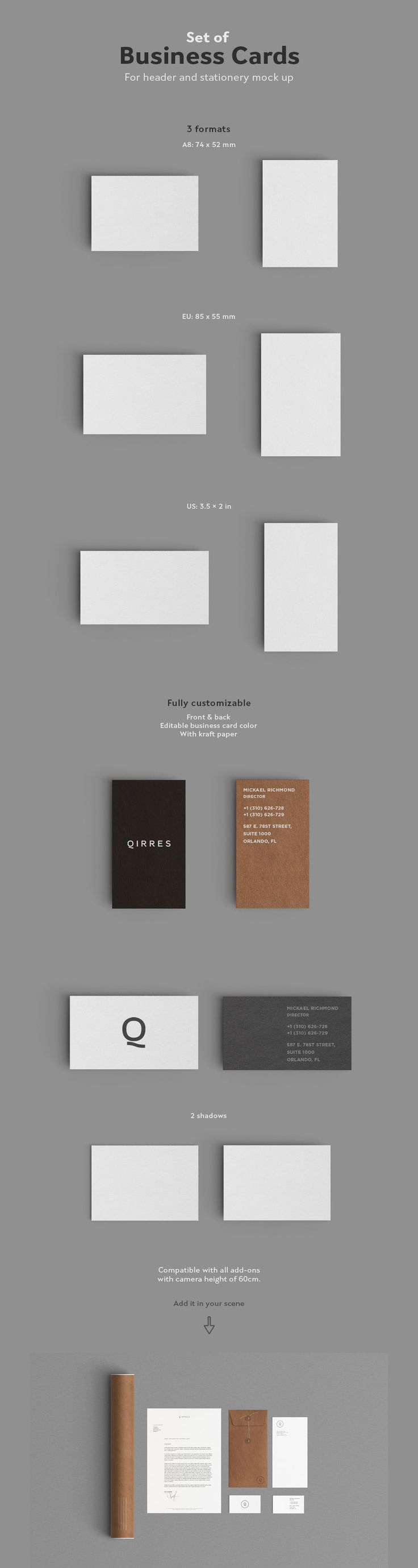 Best 25 business card size ideas on pinterest standard business free front back kraft paper business card mockup 2015 magicingreecefo Images