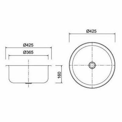 Petit évier rond encastrable 1 bac acier brossé (M07 bs)