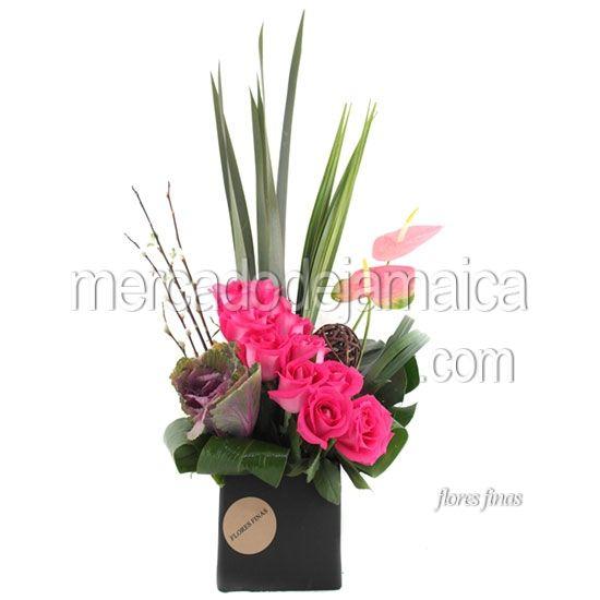 Arreglo con rosas fucsia arreglos florales con anturios - Arreglos florales con flores secas ...
