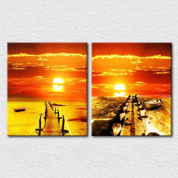Печать холст 2 шт. комплект фотографий путешествия sencery фотографии с gald цвет прекрасно отделка стен картины для спальни