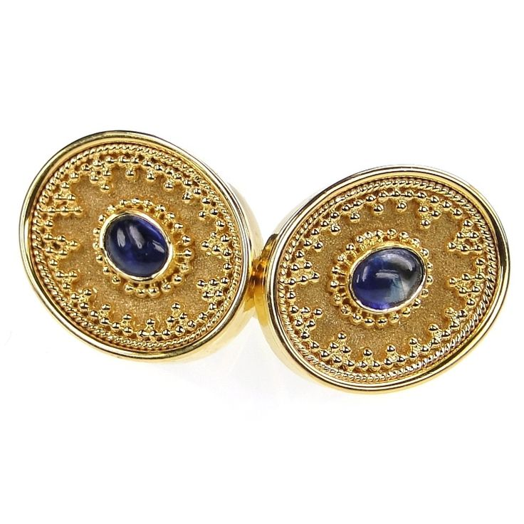 Damaskos Sapphire Oval Cuff  Links. 18k Gold and Sapphires. Greek jewelry at www.athenas-treasures.com