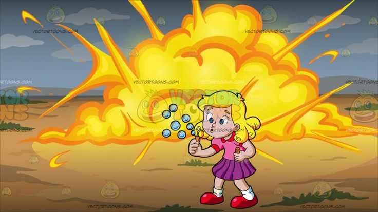 A Young Girl Blowing Bubbles At An Outdoor Explosion :  A female kid with golden locks and blue eyes wearing a pink blouse with red petal collar violet hem skirt white socks and red shoes blows out air from her mouth to release the bubbles from the white bubble wand with orange handle on her right hand. Set in a big explosion with orange and yellow flames scattered like a big cloud in the middle of a land with light brown soil and small patches of green grass.