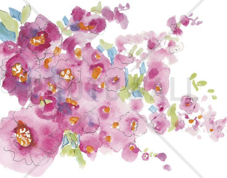 Pink Watercolor Floral II - Wall Mural & Photo Wallpaper - Photowall