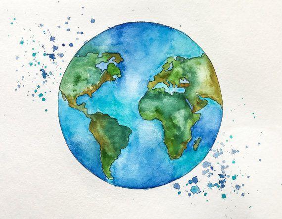 Original Globe World Map Watercolor Painting By Nikspaintgallery