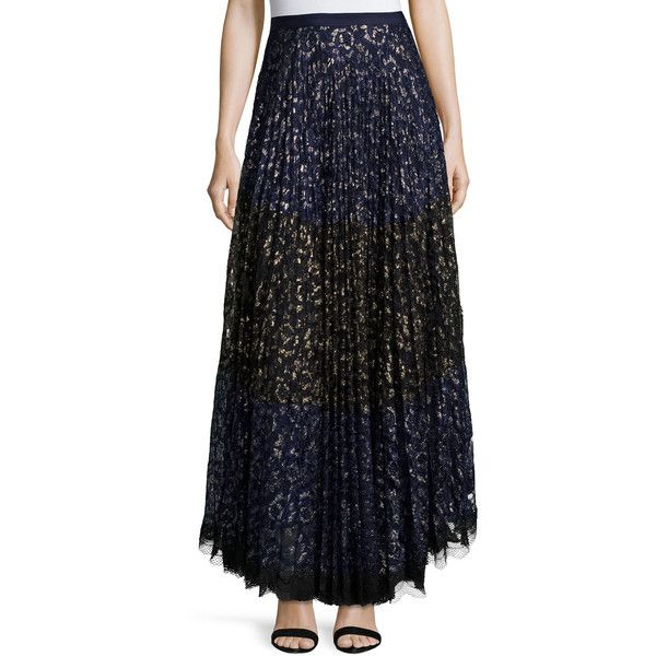 Saloni Karen Pleated Lace Maxi Skirt (13,435 INR) ❤ liked on Polyvore featuring skirts, navy, navy blue maxi skirt, lace skirt, pleated skirt, maxi skirt and pleated maxi skirt