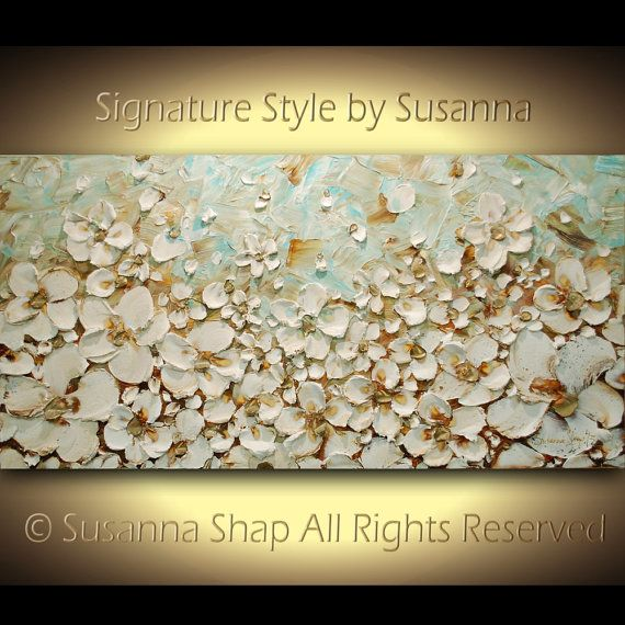 ORIGINAL Large Impasto Landscape Cream White Flowers Oil Painting Contemporary Palette Knife Painting by Susanna Ready to Hang Gallery Art via Etsy