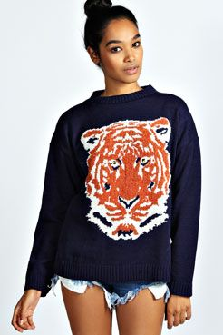 Becky Boucle Tiger Knit Jumper at boohoo.com